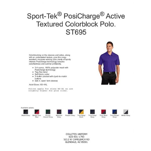 Sport Tek Posicharge Active Textured Colorblock Polo St695 Build your career with jobsora. collette s uniforms